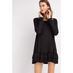 Soft Long Sleeve Ruffled Tunic Top in Black - June Adel