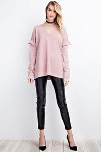 Rosewood Mineral Washed Top with Mock Neckline - June Adel