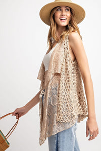 Unique Layering Boho Vest in Oatmeal - June Adel