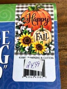 Fall Cotton and Pumpkins Large Flag