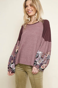 Umgee Wine Top with Color Block Paisley Sleeves