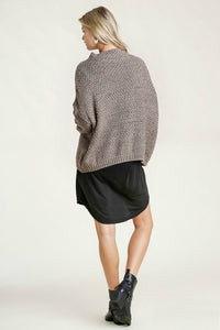 Umgee Cable Mock Neck Sweater in Mocha Gray