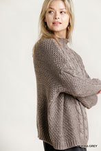 Load image into Gallery viewer, Umgee Cable Mock Neck Sweater in Mocha Gray