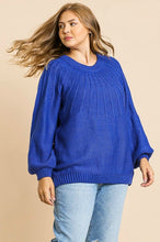 Load image into Gallery viewer, Umgee Cobalt Blue Puff Sleeve Sweater