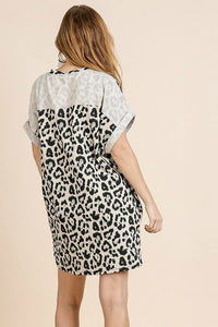 Umgee Animal Print Dress with Rolled Short Sleeves