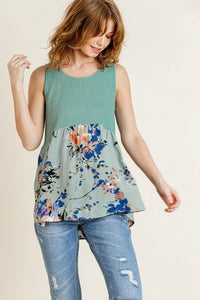 Umgee Lagoon Floral Print Sleeveless Top