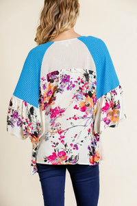 Umgee Waffle Knit Color Block Top with Floral Print Sleeves in Natural - June Adel