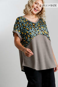 Umgee Animal Print and Waffle Knit Top in Mocha and Olive
