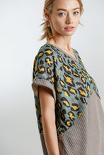 Load image into Gallery viewer, Umgee Animal Print and Waffle Knit Top in Mocha and Olive