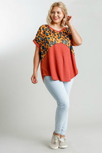 Umgee Animal Print and Waffle Knit Top in Rust and Mustard