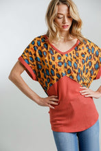 Load image into Gallery viewer, Umgee Animal Print and Waffle Knit Top in Rust and Mustard