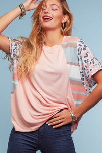 Peach and Sage Mixed Print Dolman Knit Top - June Adel