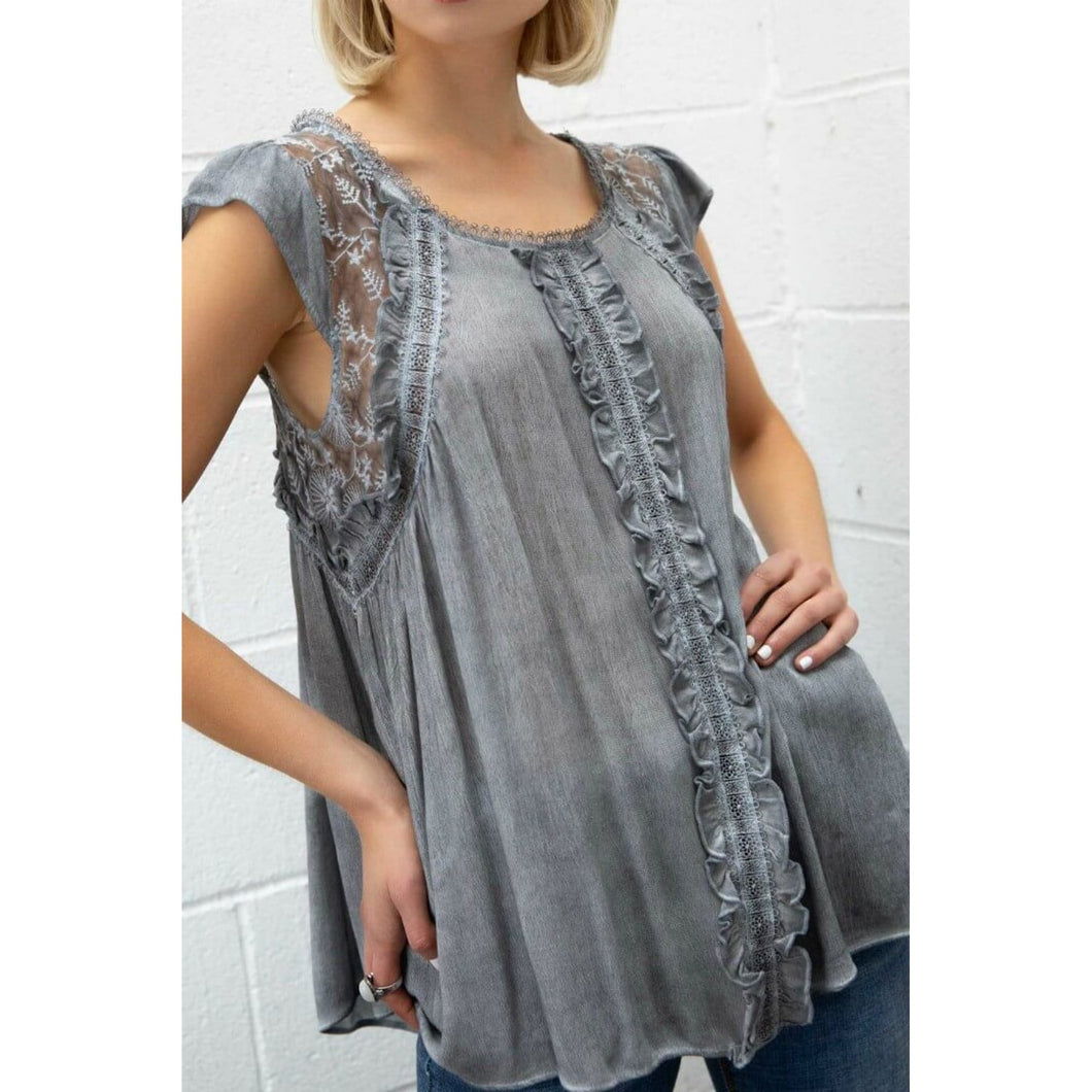Gray Top with Ruffle Details and Frill Sleeves - June Adel