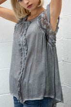 Load image into Gallery viewer, Gray Top with Ruffle Details and Frill Sleeves - June Adel