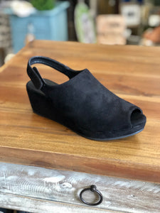 Boutique by Corkys Peep Wedge in Black - June Adel