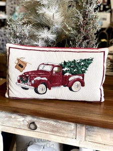 Mud Pie Red Truck Pillow