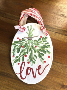 Wooden Mistletoe Love Ornament