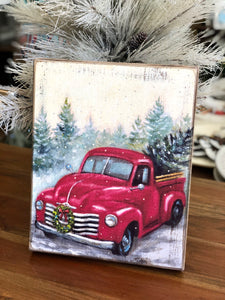 Red Truck Christmas Wooden Wall Decor