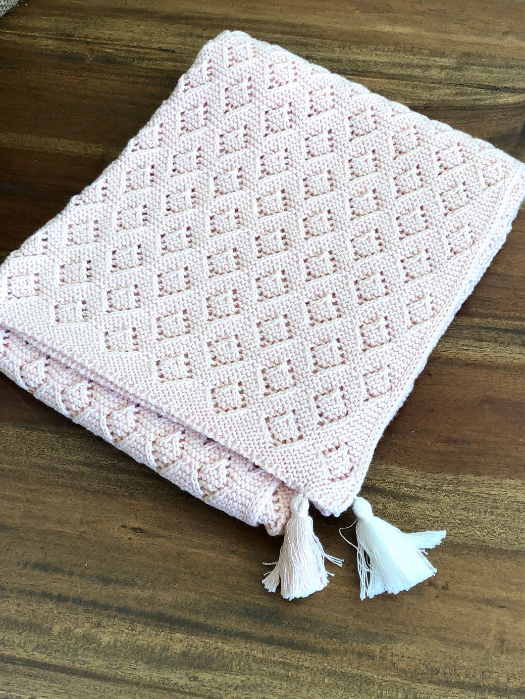 Mud Pie Pink Baby Blanket with Tassels