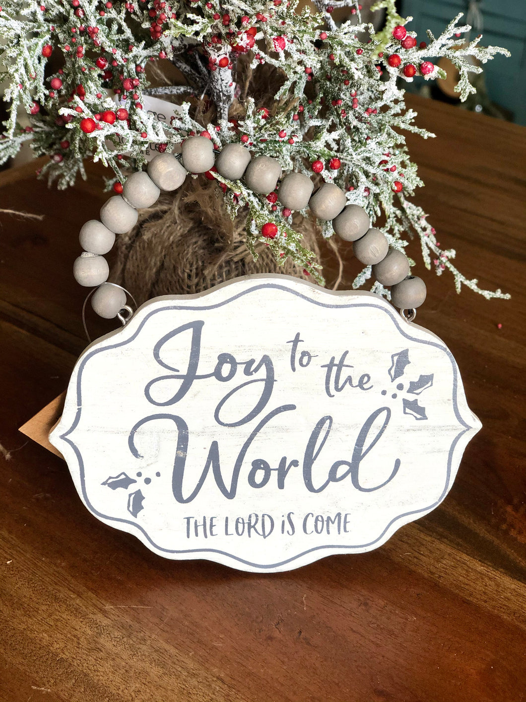 Joy to the World Gray Wooden Bead Ornament