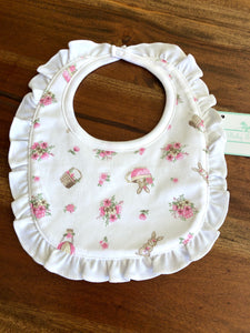 Baby Threads Bunny and Baskets Ruffled Bib