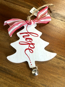 Hope Wooden Tree Ornament