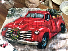 Load image into Gallery viewer, Red Truck Christmas Dish Towel