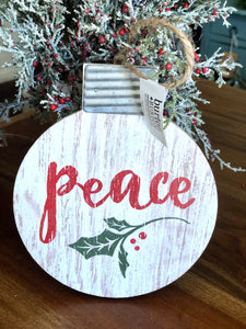 Peace Round Wooden Ornament
