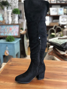 Refresh Over Knee Boots in Black