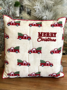 Merry Christmas Red Truck Pillow