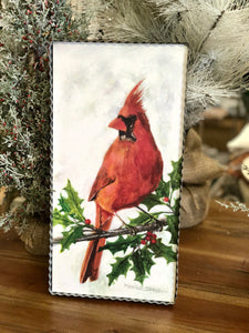 Red Cardinal on Branch Metal Wall Decor