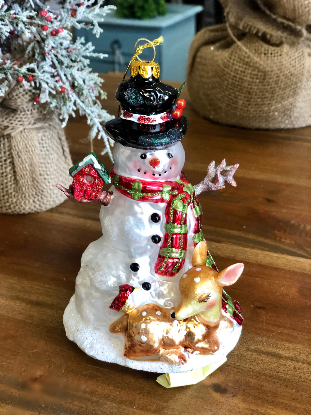 Glass Snowman and Deer Ornament