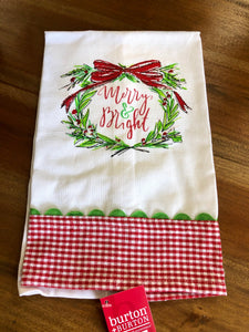 Merry & Bright Wreath Towel
