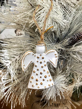 Load image into Gallery viewer, Dots White and Gold Ceramic Angel Ornament