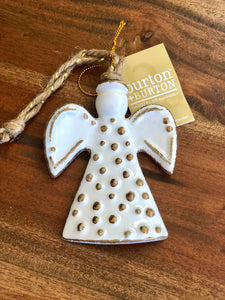 Dots White and Gold Ceramic Angel Ornament