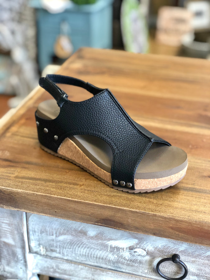 Boutique by Corkys Volta Wedges in Black - June Adel