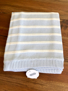 Mud Pie Blue Striped Baby Blanket