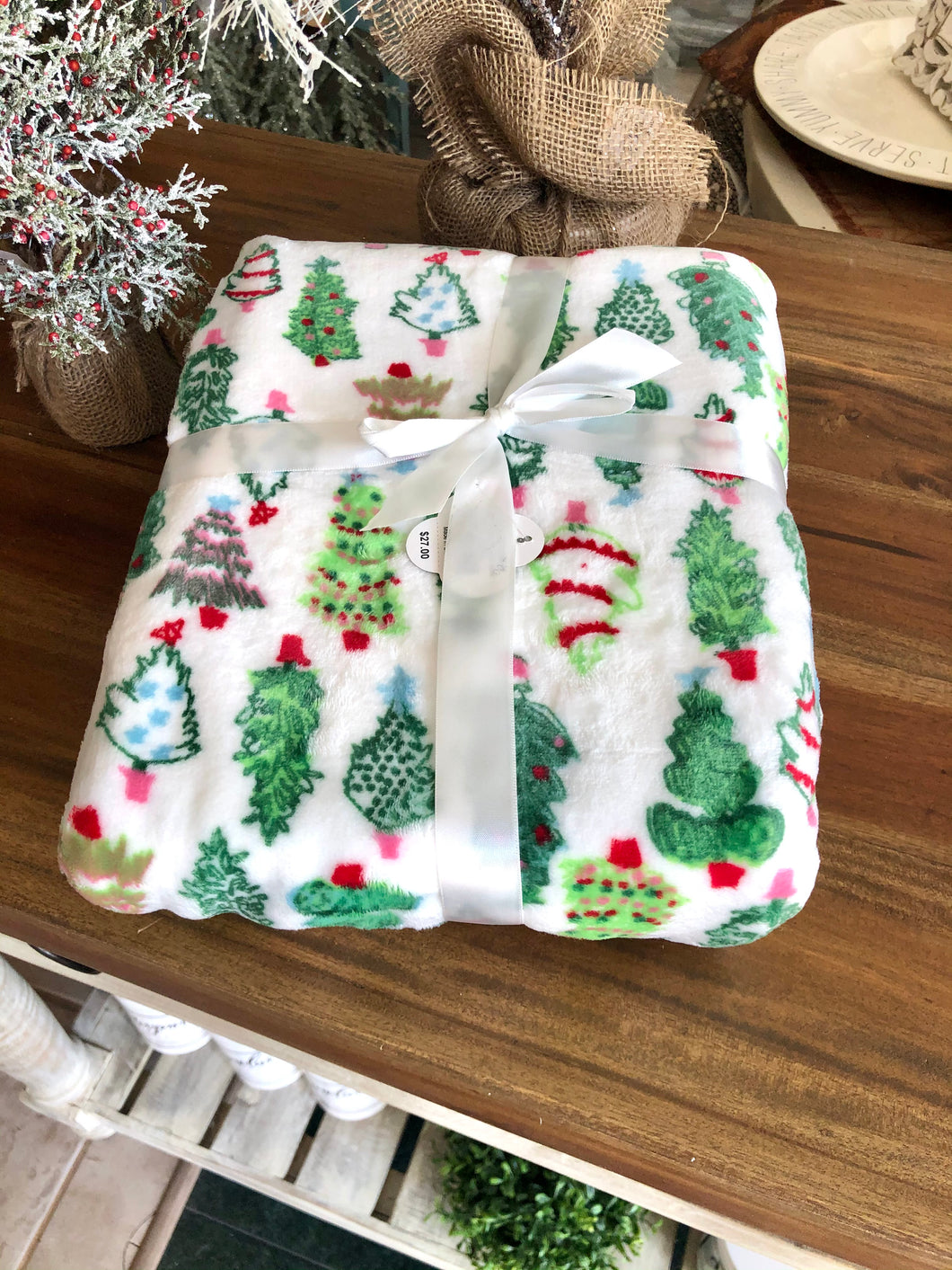 Christmas Tree Plush Throw