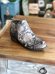 Pierre Dumas Zoey-25 Ankle Boots in Taupe Snake Print - June Adel