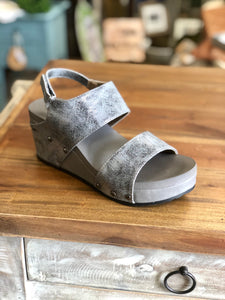 Boutique by Corkys Tower Wedge in Pewter - June Adel