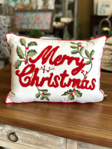 Merry Christmas Holly Pillow
