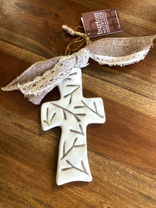 Ceramic Cross Ornament with Branch Design