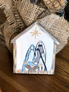 Nativity Scene Ornament with Painted Look