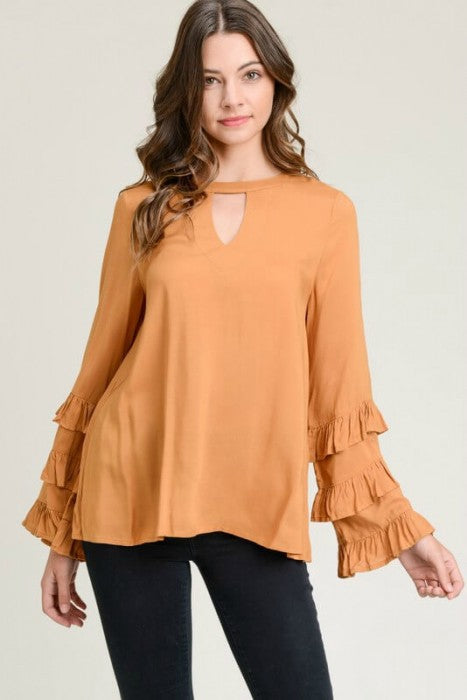 Toffee Keyhole Top with Layered Ruffled Sleeves - June Adel