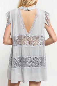 Mystic Gray Top with Sheer Lace Panels and Mock Neck Detail - June Adel