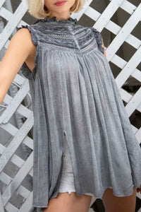 Light Gray Top with Victorian Neck and Front Slits - June Adel