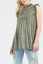 Load image into Gallery viewer, Olive Green Top with Victorian Neck and Front Slits - June Adel