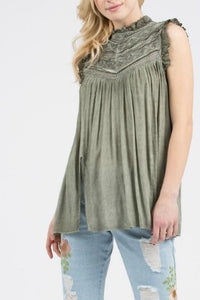 Olive Green Top with Victorian Neck and Front Slits - June Adel