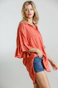 Umgee Sunset Washed Button Down Shirt