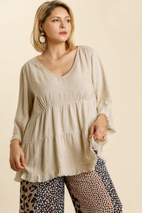 Umgee Oatmeal Tiered Linen Blend Top